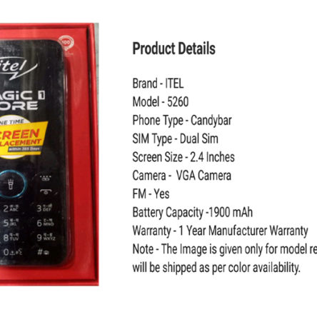 iTel 5260 keypad mobile [Feature Phone] buy online
