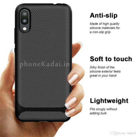 Redmi 8 Carbon Fibre Grip TPU Back Case-Back Cover